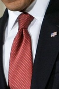 Neck of State: Necktie worn by Barack Obama on February 9, 2009, at a Town Hall Meeting in Indiana.