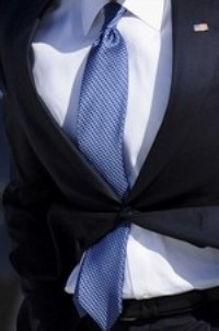 "Neck of State: Necktie worn by Barack Obama on February 12, 2009. The tie features a telling ""negative"" slope."