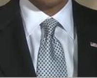 Neck of State: Necktie worn by Barack Obama on February 13, 2009, while recording his fourth weekly video address to the nation.