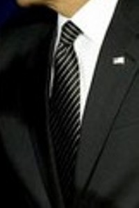 Neck of State: Tie worn by Barack Obama while detailing mortgage relief to an audience in Arizona. February 18, 2009.