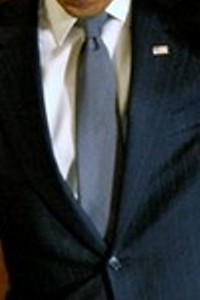 Neck of State: Necktie worn by Barack Obama on February 20, 2009, while recording his fifth weekly video address to the nation.