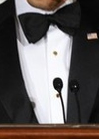 Neck of State: President Obama's black bow tie at a dinner with the nation's governors. February 22, 2009.