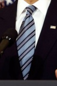 "Neck of State: President Obama wears his ""Power Blue"" tie as he unveils the FY 2010 Fisical Budget. February 26, 2009."