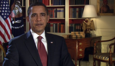 Barack Obama records his sixth weekly address on February 27, 2009.