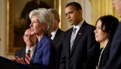 President Barack Obama introduces Secretary of Health and Human Services Nominee Kathleen Sebelius. March 2, 2009.