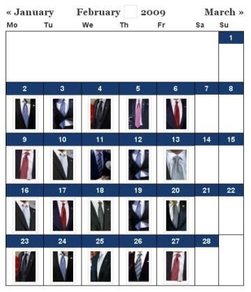 Track Presidential neck ties with the Neck of State Tie Calendar.